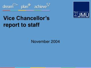 Vice Chancellor's report to staff