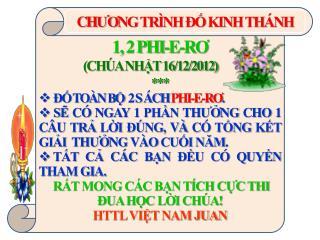 1, 2 PHI-E-R Ơ                     (CHÚA NHẬT 16/12/2012) *** ĐỐ TOÀN BỘ  2 S ÁCH  PHI-E-R Ơ .