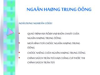 NGAÂN HAØNG TRUNG ÖÔNG