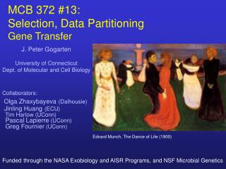 MCB 372 #13:   Selection, Data Partitioning Gene Transfer