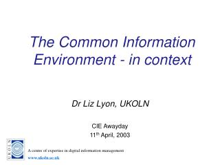 The Common Information Environment - in context