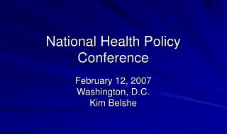 National Health Policy Conference