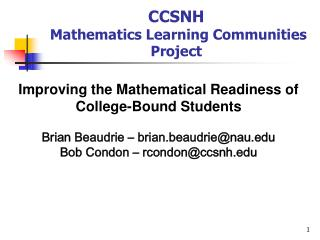 CCSNH   Mathematics Learning Communities Project