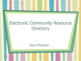 Electronic Community Resource Directory