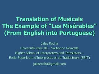 Translation of Musicals The Example of