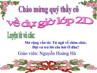 Giáo viên: Nguyễn Hoàng Hà