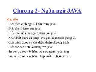 Chương 2- Ngôn ngữ JAVA