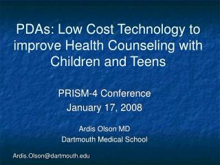 PDAs: Low Cost Technology to improve Health Counseling with Children and Teens