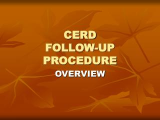 CERD FOLLOW-UP PROCEDURE