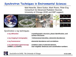 Synchrotron Techniques in Environmental Sciences