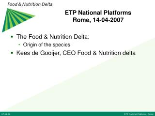 ETP National Platforms Rome, 14-04-2007