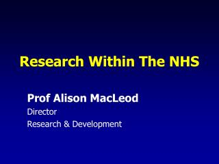 Research Within The NHS