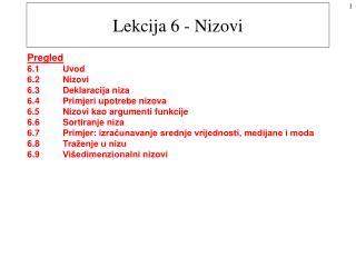 Lekcija 6 - Nizovi