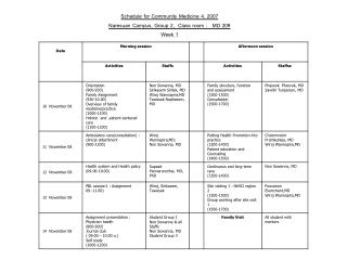 Schedule for Community Medicine 4, 2007 Naresuan Campus, Group 2,  Class room :   MD 209 Week  1