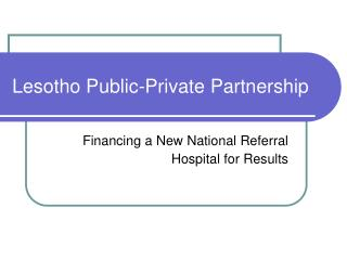 Lesotho Public-Private Partnership