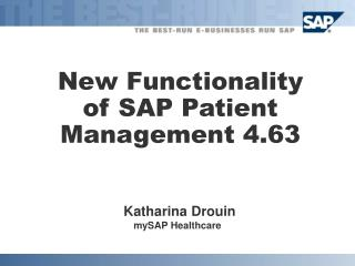 New Functionality of SAP Patient Management 4.63