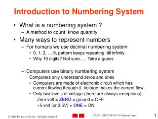 Introduction to Numbering System