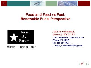 Food and Feed vs Fuel: Renewable Fuels Perspective