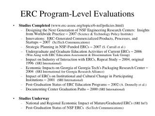 ERC Program-Level Evaluations