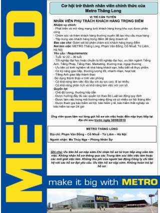 Cơ hội trở thành nhân viên chính thức của  Metro Thăng Long