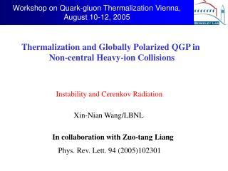 Workshop on Quark-gluon Thermalization Vienna, August 10-12, 2005