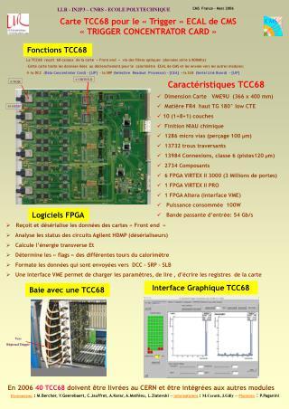 Carte TCC68 pour le «Trigger» ECAL de CMS  «TRIGGER CONCENTRATOR CARD»