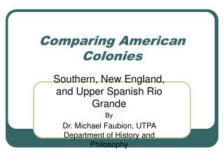 Comparing American Colonies