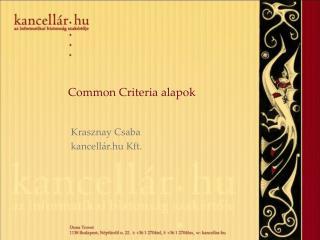 Common Criteria alapok