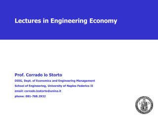 Lectures in Engineering Economy