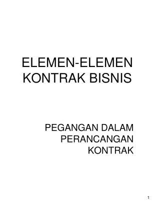 ELEMEN-ELEMEN KONTRAK BISNIS