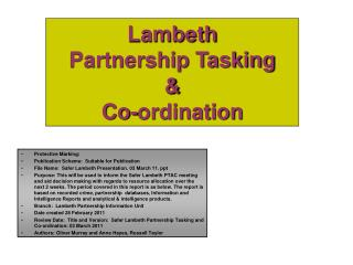 Lambeth Partnership Tasking  &  Co-ordination