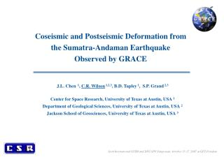 Coseismic and Postseismic Deformation from the Sumatra-Andaman Earthquake  Observed by GRACE