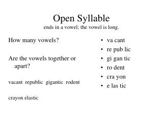 Open Syllable ends in a vowel; the vowel is long.