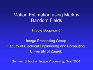 Motion Estimation using Markov Random Fields