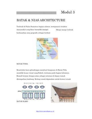 Modul 3 BATAK & NIAS ARCHITECTURE Terletak di Pulau Sumatera bagian selatan, mempunyai struktur