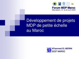 D veloppement de projets MDP de petite  chelle au Maroc