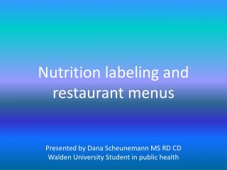 Background on labeling laws