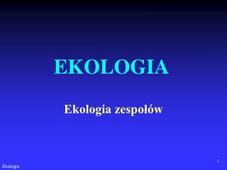 Ekologia zespołów