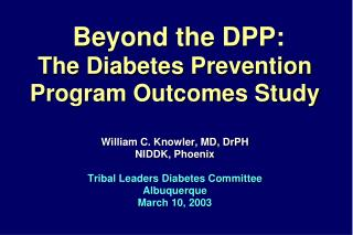 Beyond the DPP: The Diabetes Prevention Program Outcomes Study