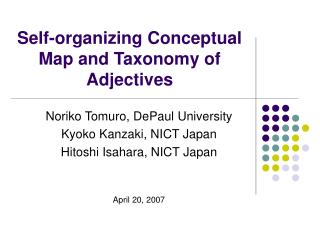 Self-organizing Conceptual Map and Taxonomy of Adjectives