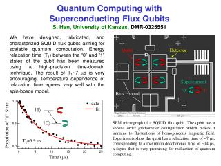 Quantum Computing with  Superconducting Flux Qubits S. Han, University of Kansas ,  DMR-0325551