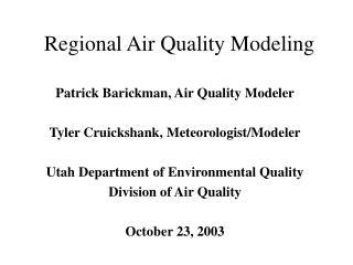 Regional Air Quality Modeling