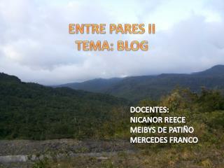 ENTRE PARES  II TEMA:  BLOG