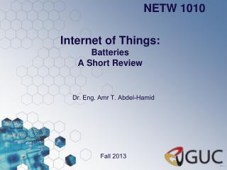 Internet of Things: Batteries  A Short Review