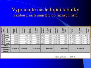 Vypracujte následující tabulky každou z nich umístěte do různých listů