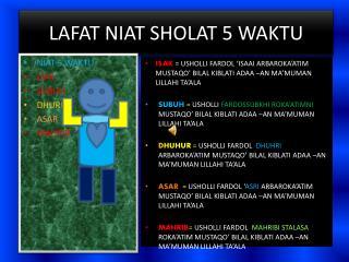 LAFAT NIAT  SHOLAT 5 WAKTU