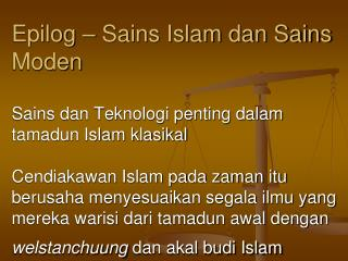 Epilog � Sains Islam dan Sains Moden
