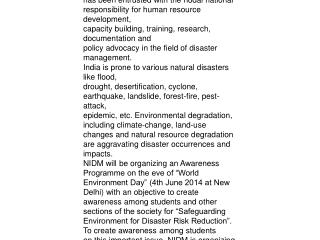 National Institute of Disaster Management (NIDM),
