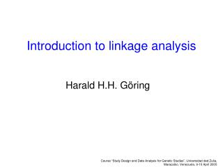 Introduction to linkage analysis