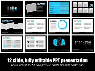 12 slide, fully editable PPT presentation